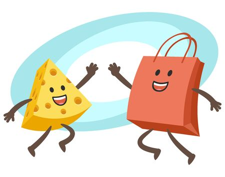 Happy Cheese Character and Shopping Bag Character giving high-five. Vector Illustration.