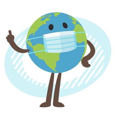 Planet Earth character in the medical mask. Raised index finger. Vector Illustration. Vettoriali