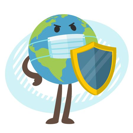 Planet Earth character in the medical mask with the shield. Vector Illustration.