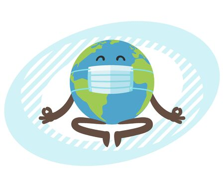 Planet Earth character with medical mask meditating. Gobe relax in lotus yoga pose. Vector Illustration.