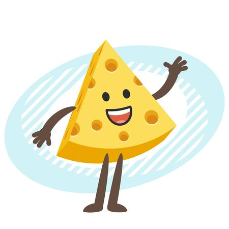 Cartoon Cheese Character waving in greeting. Vector Illustration.