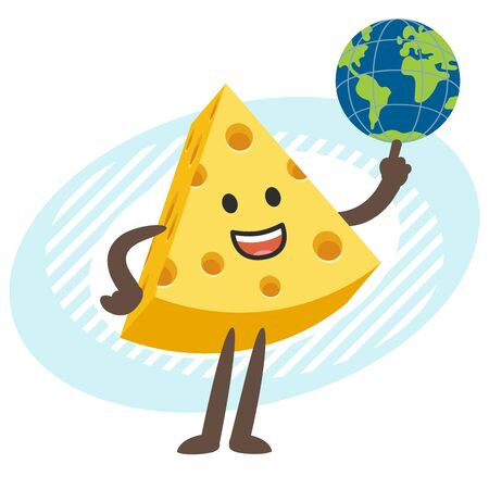 Cartoon Cheese Character holding the planet Earth. Vector Illustration.