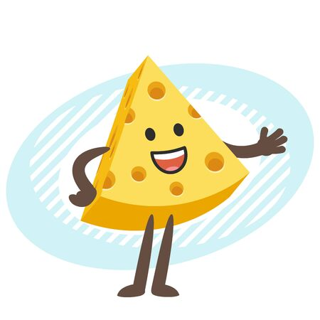Cartoon Cheese Character gesticulating or showing something beside of him. Vector Illustration.