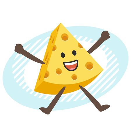 Happy Cheese Character jumping. Vector Illustration.