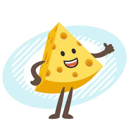 Cartoon Cheese Character giving a thumbs up. Vector Illustration. Vettoriali