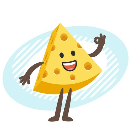 Cartoon Cheese Character showing a okay hand sign. Vector Illustration.