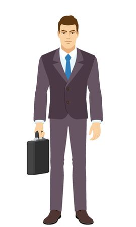 Smiling Businessman standing with briefcase. Full length portrait of Businessman in a flat style. Vector illustration.