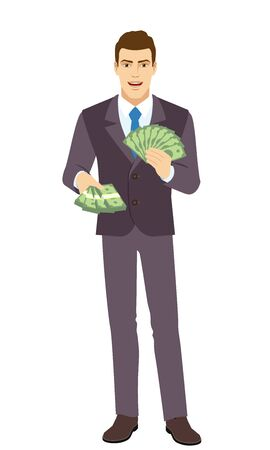 Smiling Businessman with money. Full length portrait of Businessman in a flat style. Vector illustration.