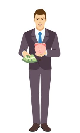 Smiling Businessman with money and piggy bank. Full length portrait of Businessman in a flat style. Vector illustration. Vettoriali