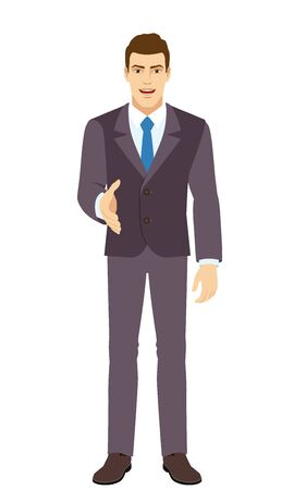 Smiling Businessman gives a hand for a handshake. Full length portrait of Businessman in a flat style. Vector illustration.