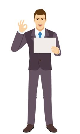 Smiling Businessman showing a a paper and  show a okay hand sign. Full length portrait of Businessman in a flat style. Vector illustration.