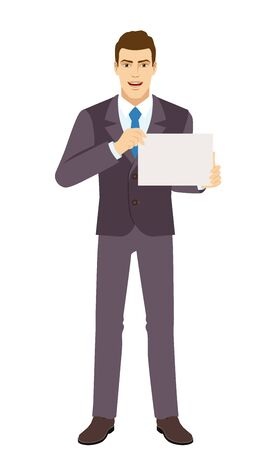 Smiling Businessman showing a a paper. Full length portrait of Businessman in a flat style. Vector illustration. Vettoriali