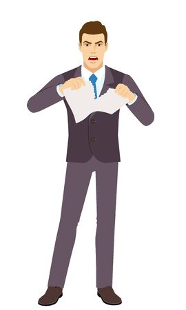 Angry Businessman tearing paper. Full length portrait of Businessman in a flat style. Vector illustration.