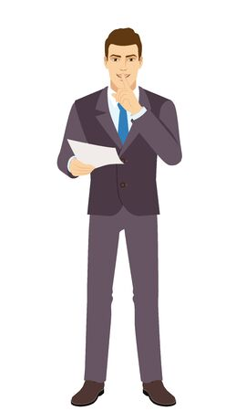 Smiling Businessman holding a paper and making hush sign. Full length portrait of Businessman in a flat style. Vector illustration. Vettoriali