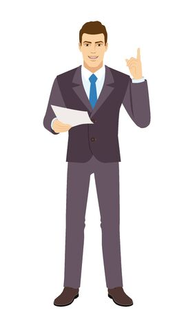 Smiling Businessman holding a paper and pointing up. Full length portrait of Businessman in a flat style. Vector illustration.