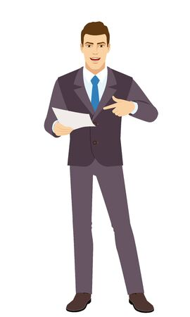 Smiling Businessman pointing at a paper in his hand. Full length portrait of  Businessman in a flat style. Vector illustration. Vettoriali
