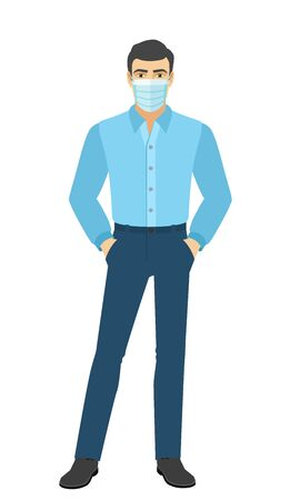 The man in the shirt standing with hands in pockets. Full length portrait of man in a flat style. Vector illustration. Vettoriali