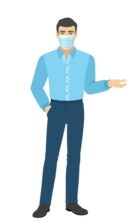 The man in the shirt gesturing, shows something beside of him. Full length portrait of man in a flat style. Vector illustration. Vettoriali