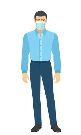 The man in the shirt. Full length portrait of man in a flat style. Vector illustration.