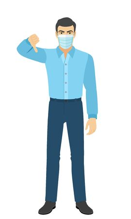 The man in the shirt showing thumb down gesture as rejection symbol. Full length portrait of man in a flat style. Vector illustration.