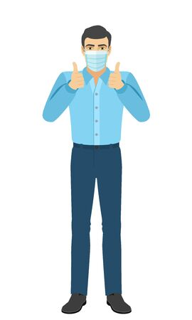 The man in the shirt with hand in pocket  showing thumb up. Full length portrait of man character in a flat style. Vector illustration.