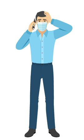 The man in the shirt talking on the mobile phone and grabbed his head. Full length portrait of man in a flat style. Vector illustration.