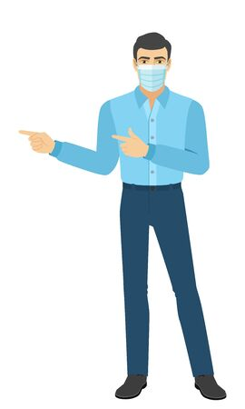 Two index fingers pointing. The man in the shirt showing somewhere. Full length portrait of man in a flat style. Vector illustration.