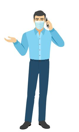 The man in the shirt gesturing and talking on the mobile phone. Full length portrait of man in a flat style. Vector illustration.
