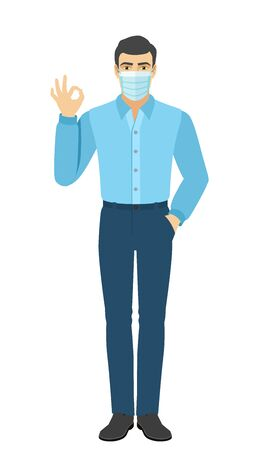 OK! The man in the shirt show a okay hand sign. Full length portrait of man in a flat style. Vector illustration. Vettoriali