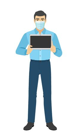The man in medical mask showing blank digital tablet PC. Full length portrait of man in a flat style. Vector illustration.