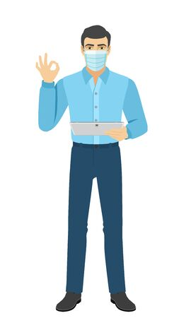 OK! The man in medical mask show a okay hand sign and holding digital tablet PC. Full length portrait of man in a flat style. Vector illustration.