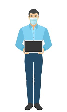Man in medical mask showing blank digital tablet PC. Full length portrait of man in a flat style. Vector illustration.