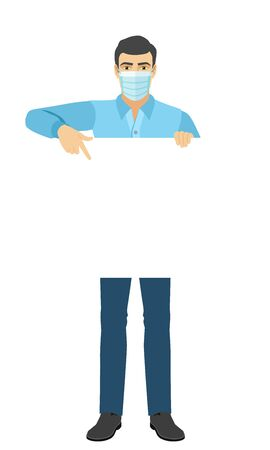 Man in medical mask pointing at banner over white. Full length portrait of man in a flat style. Vector illustration.