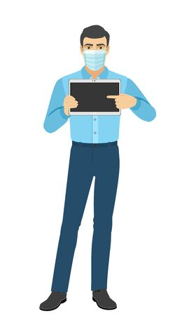 Man in medical mask pointing at digital tablet PC. Portrait of man in a flat style. Vector illustration.