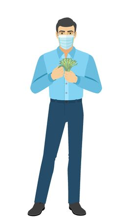 Man in medical mask with money. Full length portrait of man in a flat style. Vector illustration. Vettoriali