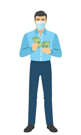 Man in medical mask counts the money. Full length portrait of man in a flat style. Vector illustration.