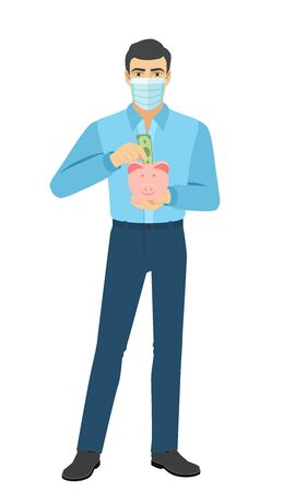 Man in medical mask puts banknote in a piggy bank. Full length portrait of man in a flat style. Vector illustration.