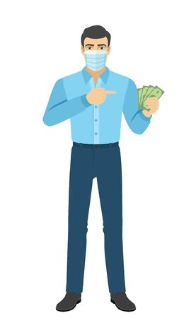 Man in medical mask pointing at money in his hand. Full length portrait of man in a flat style. Vector illustration. Vettoriali