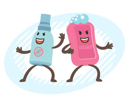 Cartoon Antiseptic Character and Soap  Character. Hygiene. Vector illustration. Vettoriali
