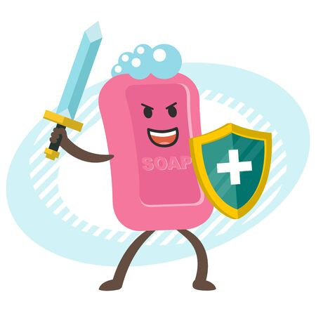 Cartoon Soap Character with sword and shield. Hygiene. Vector illustration. Vettoriali