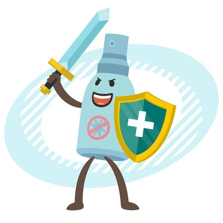 Cartoon Antiseptic Character with sword and shield. Hygiene. Vector illustration.