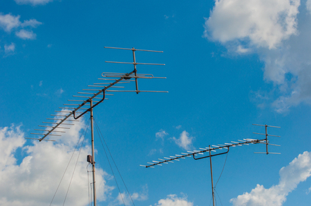 oldstyle: Television Old-style antenna on the roof, taken from Kanchanaburi, Thailand Stock Photo