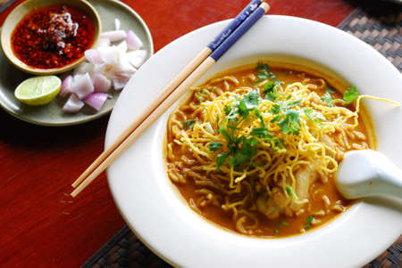 thai noodle: Khao Soi (Northern Thai Noodle Curry Soup)  Editorial