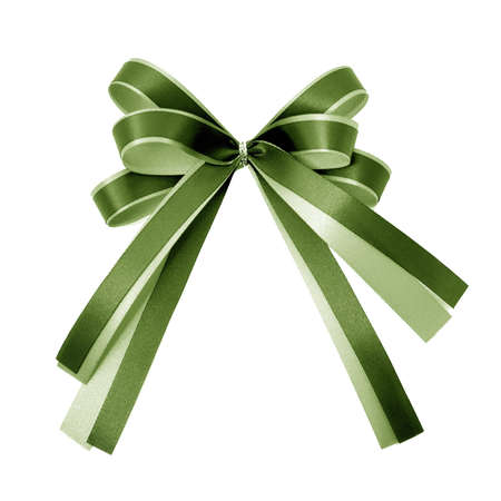 green ribbon on white