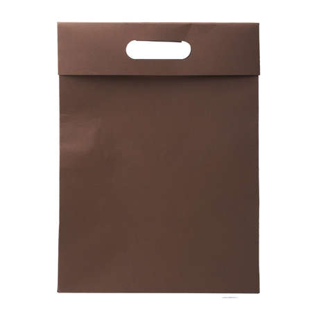 Brown paper shopping bag with white background  Stock Photo