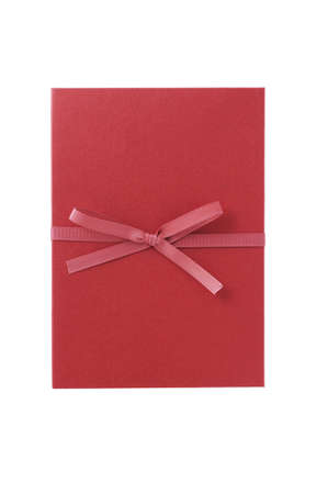 Single red gift box with pink ribbon on white background.