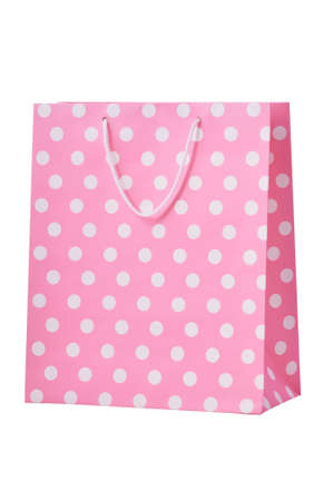 Pink shopping bag isolated on a white background Stock Photo - 12016256