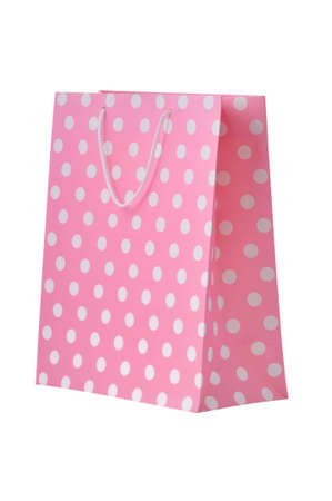 Pink shopping bag isolated on a white background photo