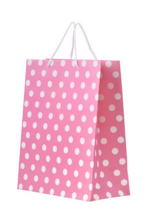 Pink shopping bag isolated on a white background Stock Photo - 12016254