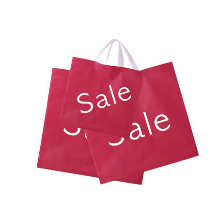 sale with red fabric shopping bags  Stock Photo